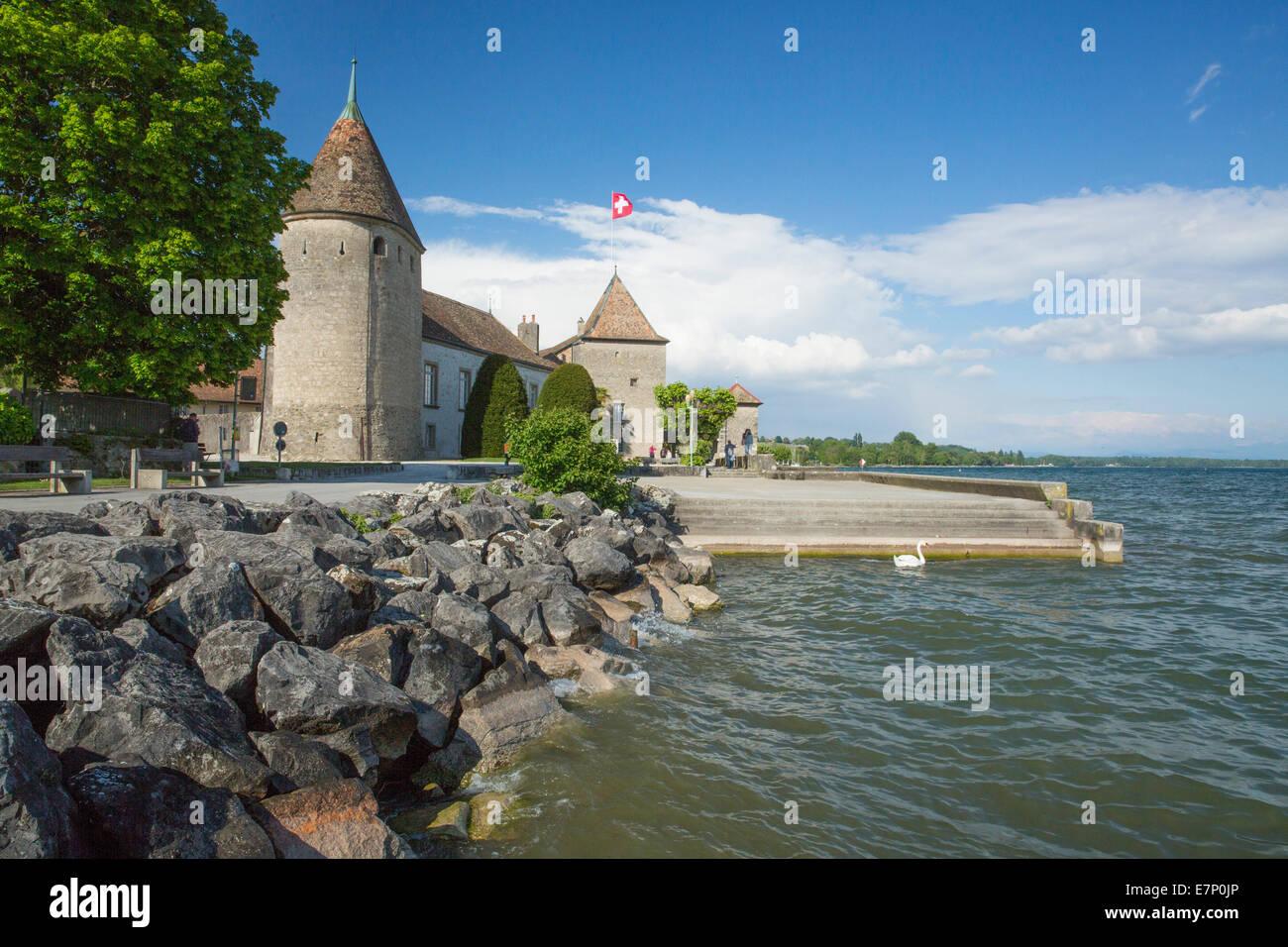La Cote VD, castle, role, roll, lake Geneva, canton, VD, Vaud, Western Switerland, Romandie, lake Geneva, Switzerland, - Stock Image