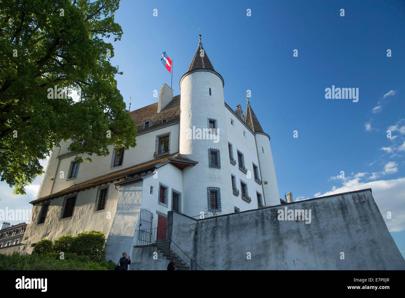 La Cote VD, castle, Nyon, lake Geneva, canton, VD, Vaud, Western Switerland, Romandie, lake Geneva, Switzerland, - Stock Image