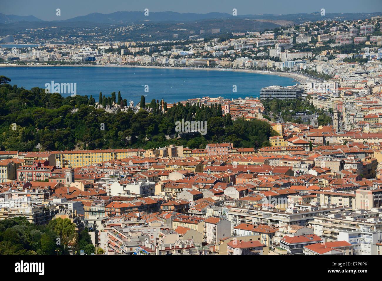 Europe, France, Cote d'Azur, Nice, Nizza, city, Riviera, coast, bay, Mediterranean - Stock Image