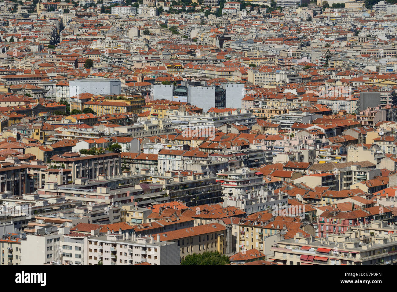 Europe, France, Cote d'Azur, Nice, Nizza, roofs, city, Riviera, town - Stock Image