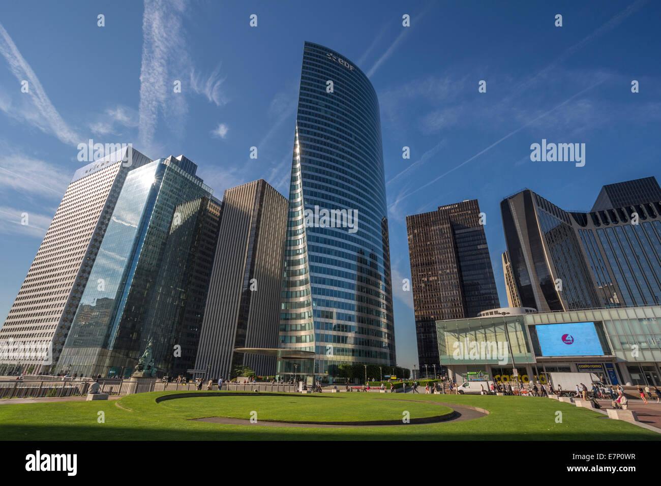 Defense, France, Europe, Paris, architecture, city, cityscape, pedestrians, skyline, touristic, urban, hi-rise, - Stock Image