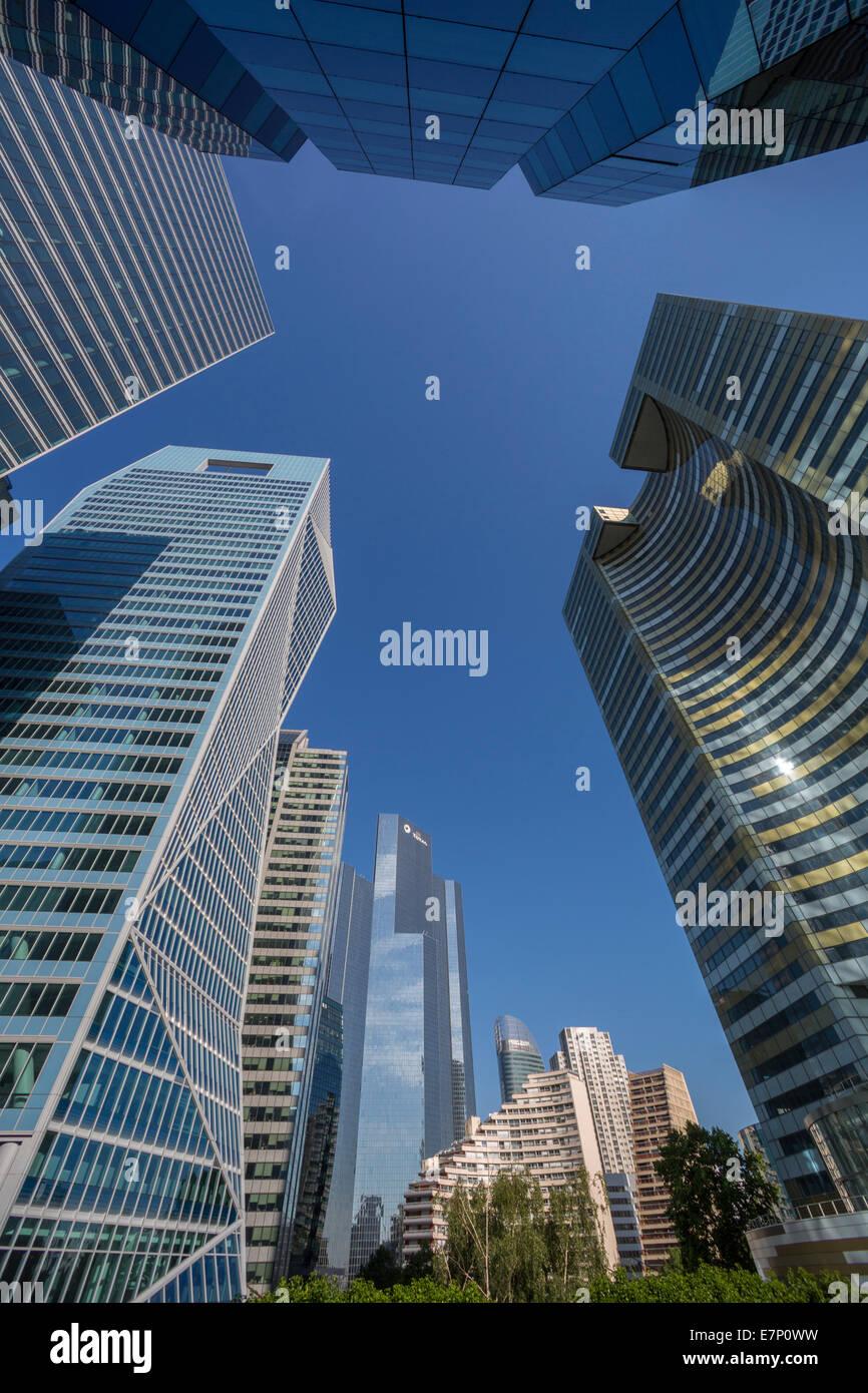 Defense, France, Europe, Paris, architecture, city, district, glass, cityscape, new, skyline, skyscraper, touristic, - Stock Image