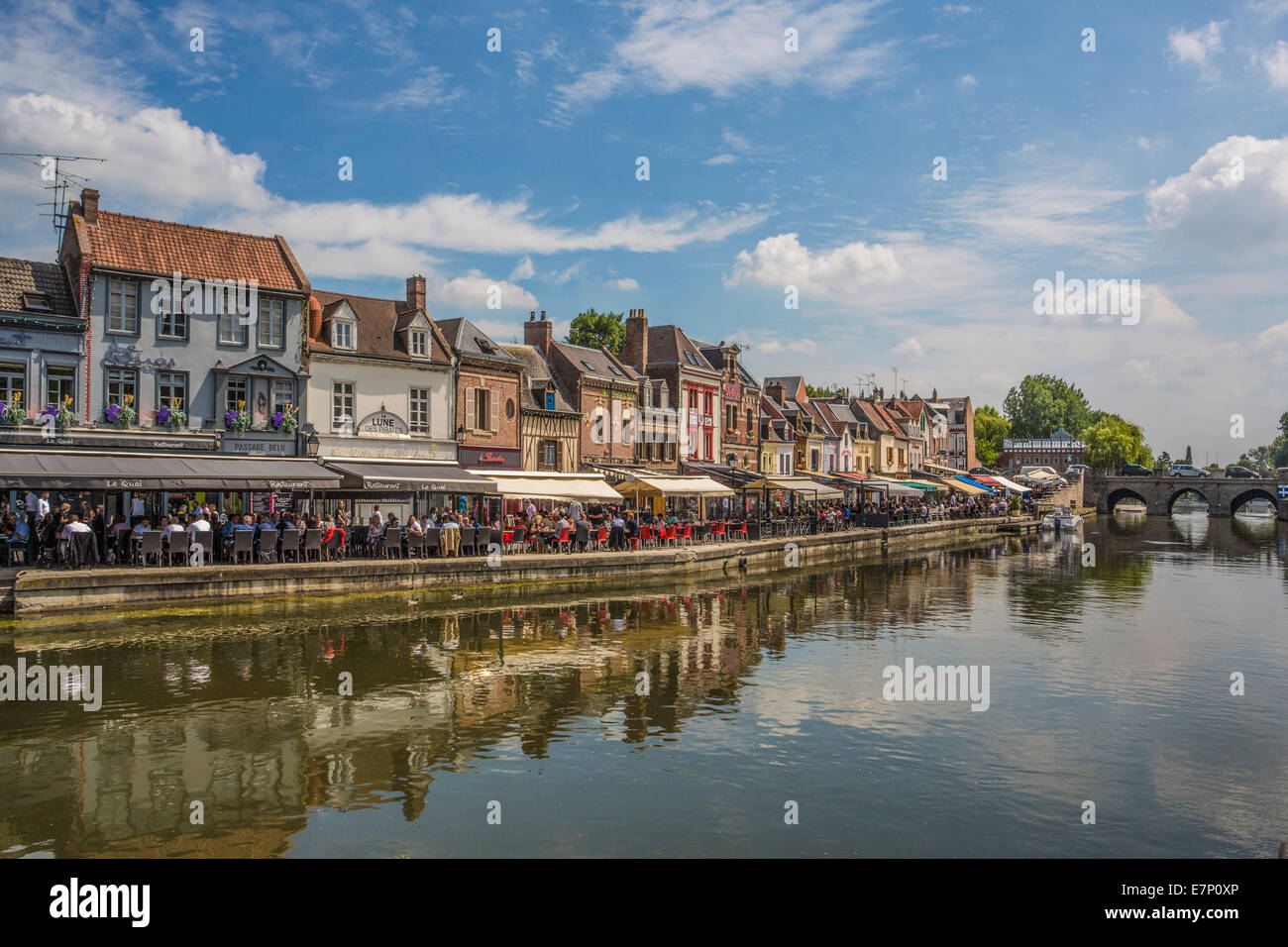 world heritage, Amiens, France, Europe, architecture, canal, city, cityscape, out doors, reflection, restaurant, - Stock Image