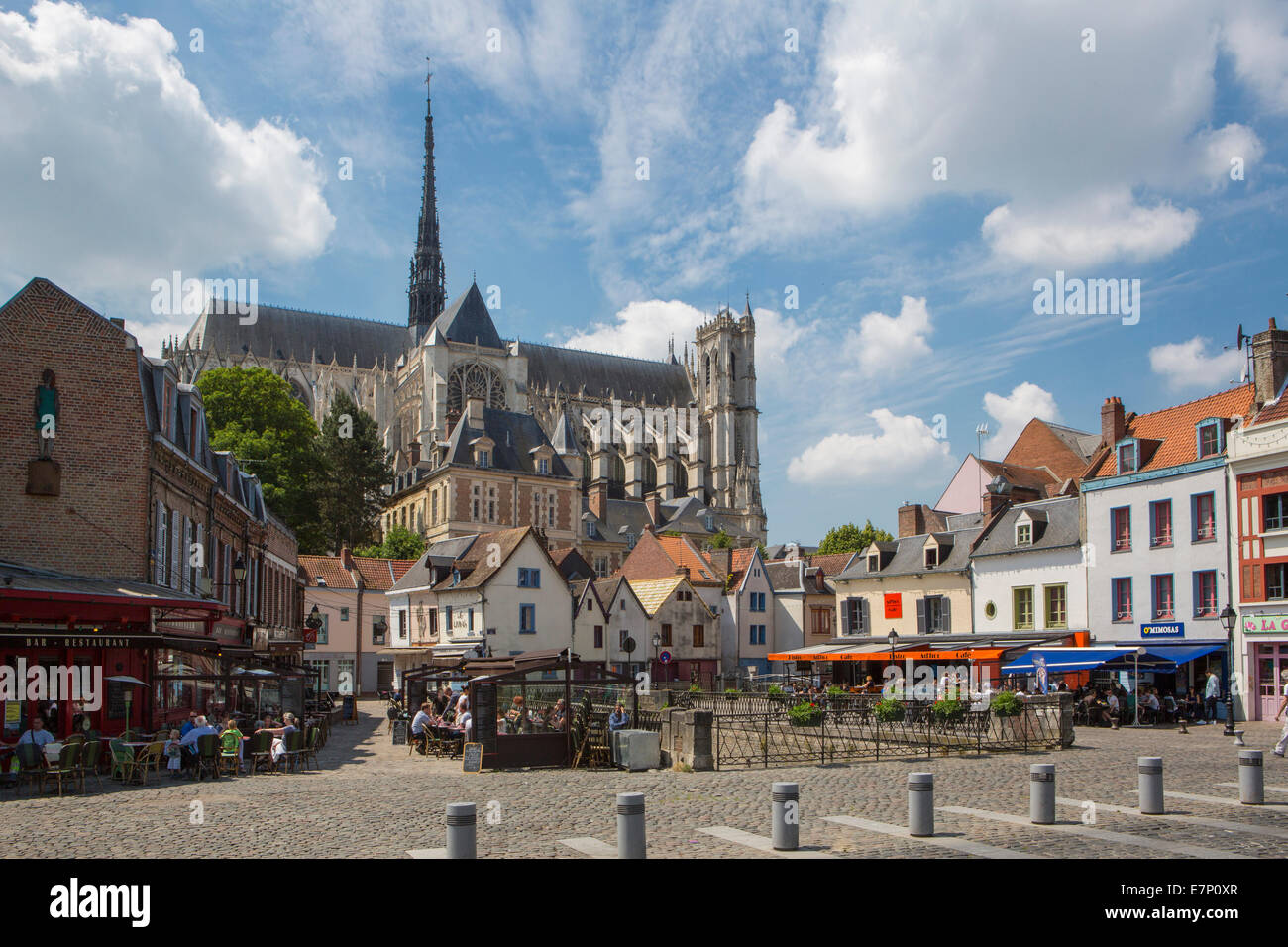 world heritage, Amiens, France, Europe, architecture, cathedral, city, history, out doors, restaurant, place, terrace, - Stock Image
