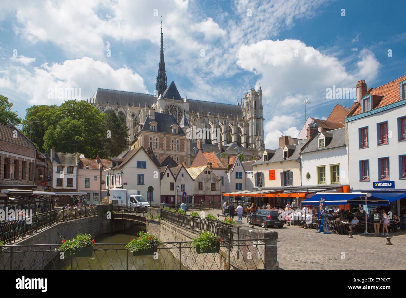 world heritage, Amiens, France, Europe, architecture, cathedral, city, history, out doors, restaurant, terrace, - Stock Image
