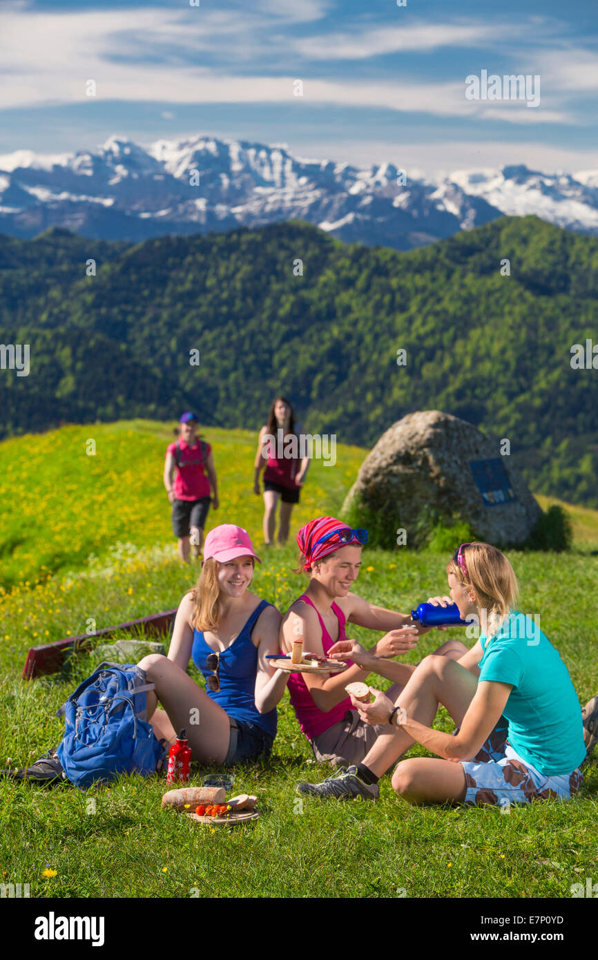 Zurich uplands, walking, hiking, Hörnli, Alps, mountain, mountains, group, footpath, group, women, canton Zurich, Stock Photo