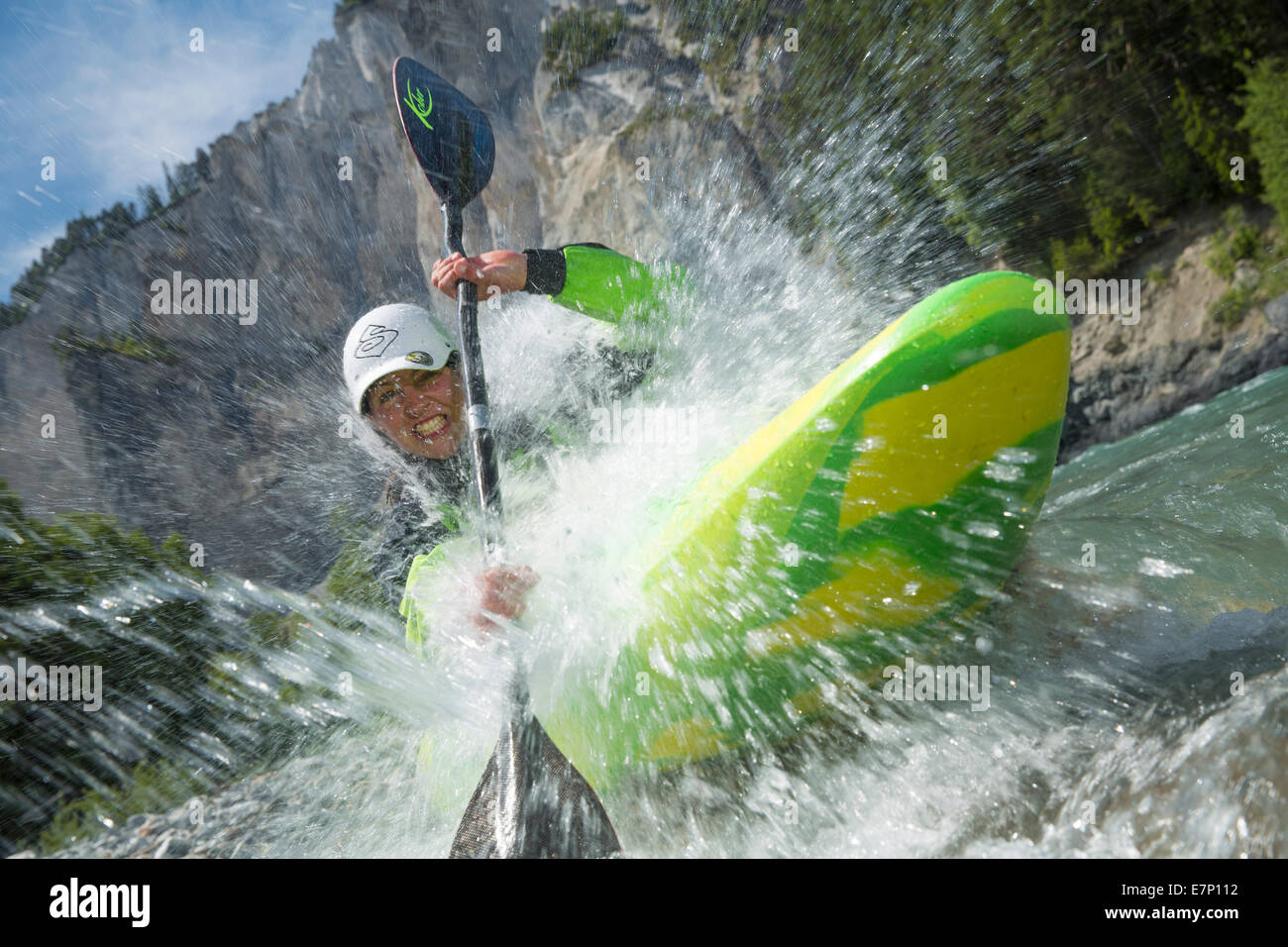 Rhine gulch, water sport, Versam, GR, river, flow, body of water, water, gulch, canton, GR, Graubünden, Grisons, - Stock Image