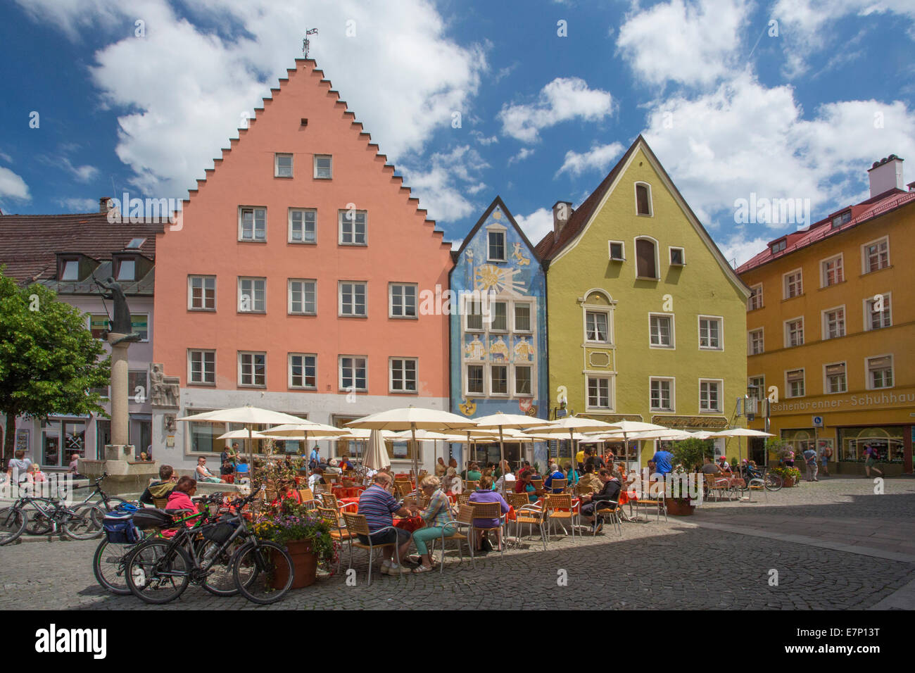 Fussen, Germany, Europe, architecture, Bavaria, city, colourful, colours, outdoor cafe, romantic road, street, terrace, - Stock Image