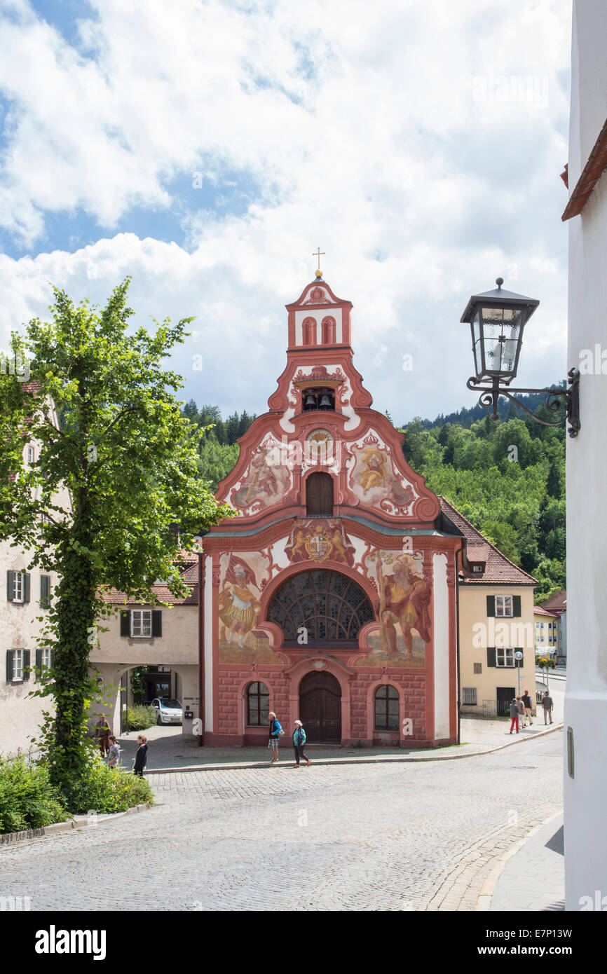 Fussen, Germany, Europe, Holy Ghost, Hospital, architecture, Bavaria, church, city, red, romantic road, touristic, - Stock Image