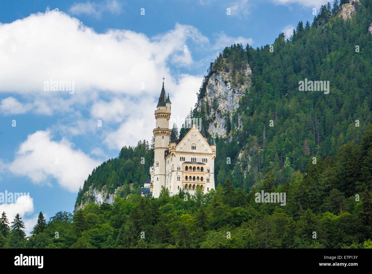 Fussen, Germany, Europe, architecture, Bavaria, castle, city, famous, history, neuschwanstein, romantic road, spring, - Stock Image