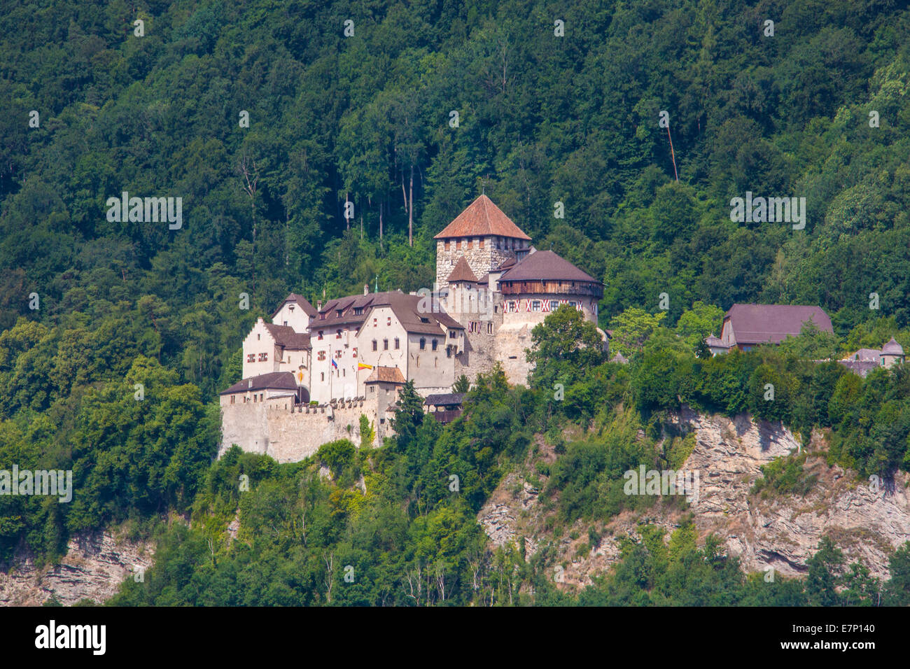 Liechtenstein, Europe, Vaduz, architecture, castle, city, famous, landscape, spring, touristic, travel - Stock Image