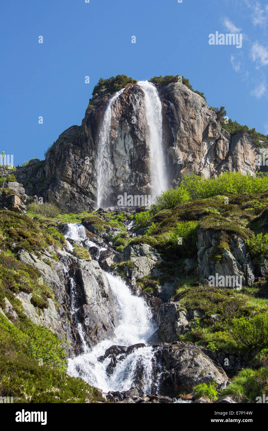 Susten, Switzerland, Europe, alps, landscape, mountain, pass, spring, touristic, travel, water, waterfall - Stock Image
