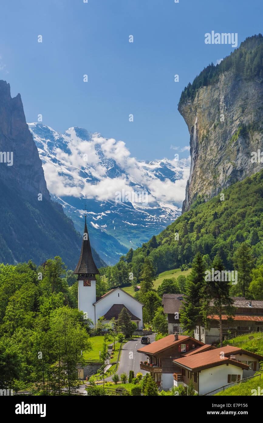 canton Berne, Bernese Oberland, Lauterbrunnen, Switzerland, Europe, church, city, colourful, landscape, mountain, - Stock Image