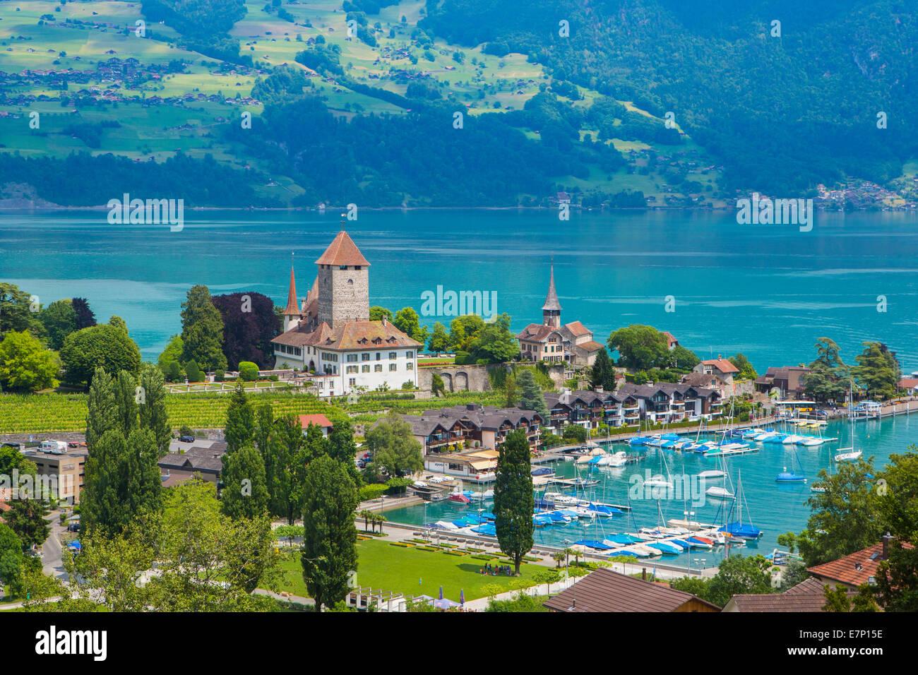 canton Berne, Bernese Oberland, Spiez, Switzerland, Europe, lake Thun, architecture, boats, city, colourful, lake, - Stock Image