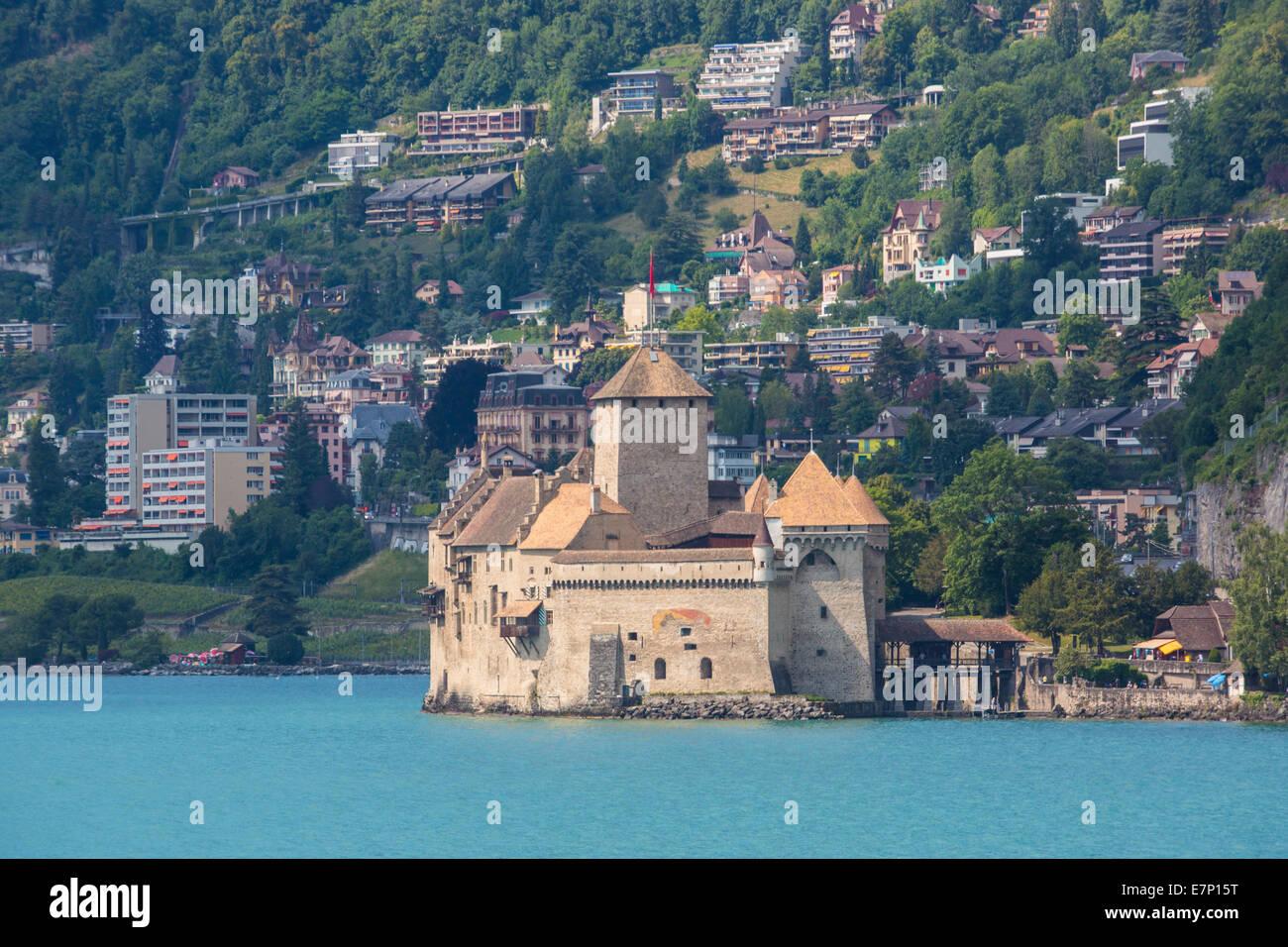 Chillon, Vaud, Leman, Lake Geneva, Switzerland, Europe, architecture, castle, history, lake, landscape, spring, - Stock Image