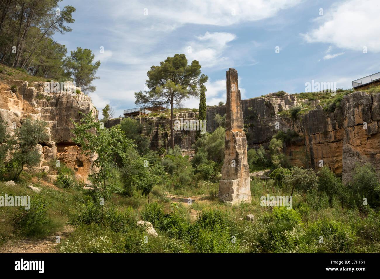 world heritage, El Medol, Catalonia, column, history, landscape, quarry, roman, Spain, Europe, stones, Tarragona, - Stock Image