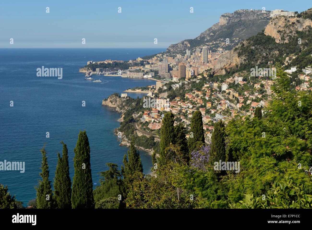 Europe, France, Cote d'Azur, Monaco, Monte Carlo, Riviera, Mediterranean, coastal, coast, city - Stock Image