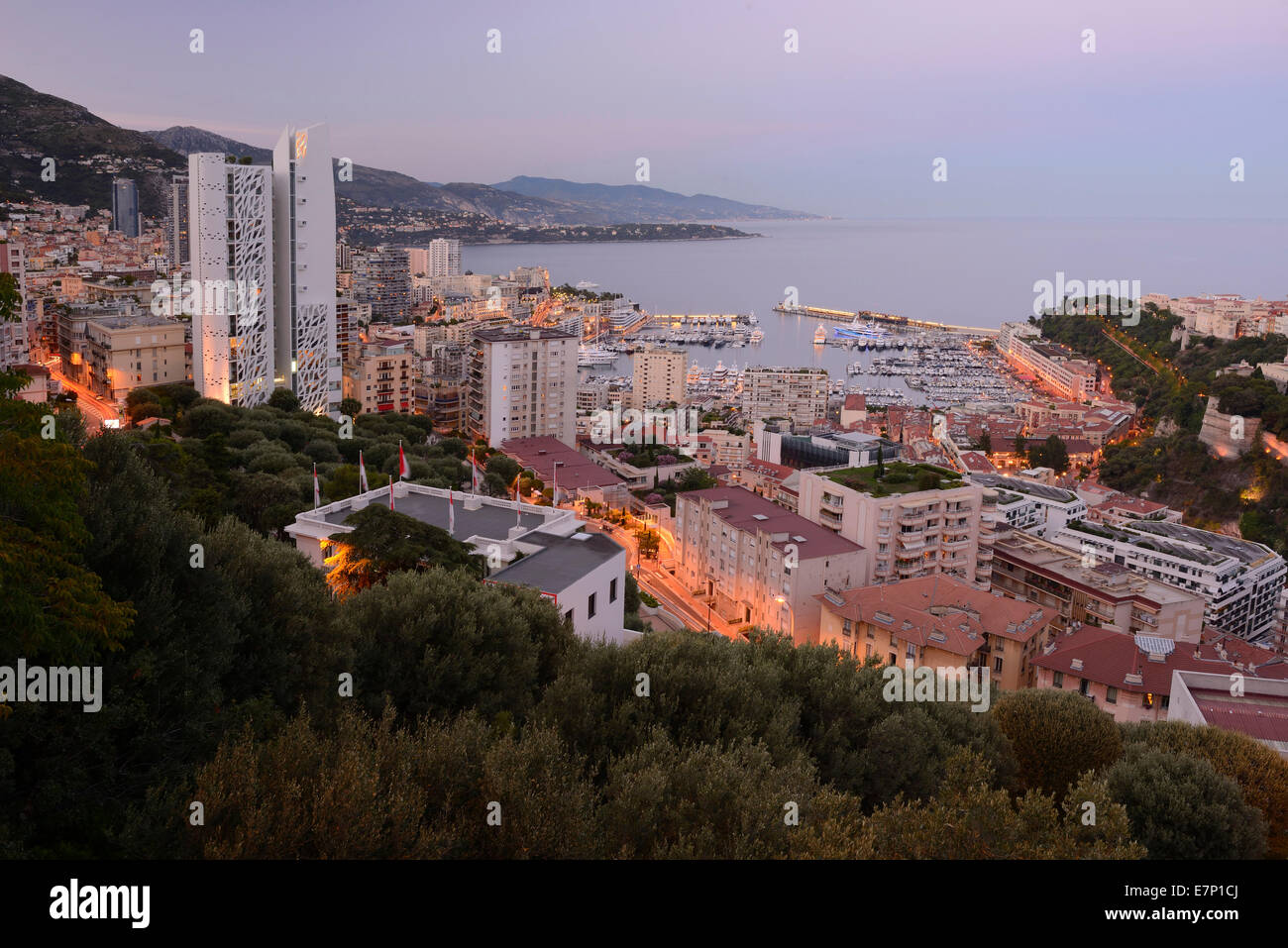 Europe, France, Monaco, Monte Carlo, French, Riviera, marina, luxury, Mediterranean, coast, city, tax haven, city - Stock Image