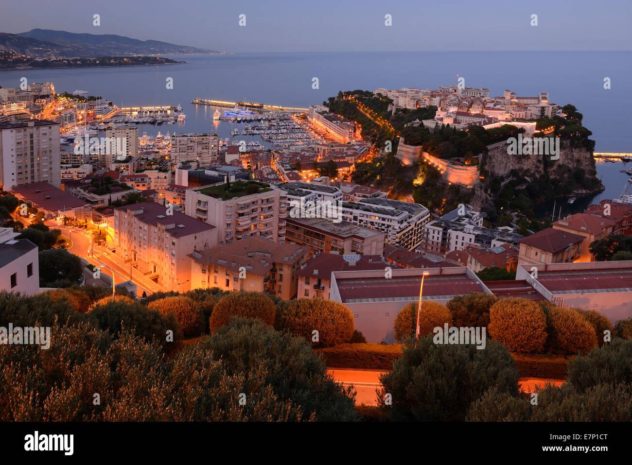 Europe, France, Monaco, Monte Carlo, French, Riviera, marina, luxury, Mediterranean, coast, city, tax haven, night - Stock Image