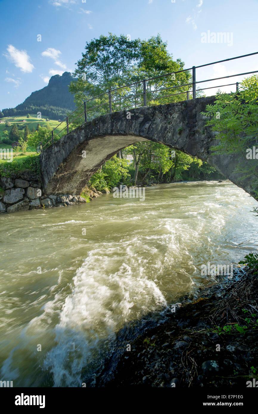 Toggenburg, Thurbrücke, Stein, river, flow, body of water, water, SG, canton St. Gallen, Thur, bridge, Switzerland, - Stock Image