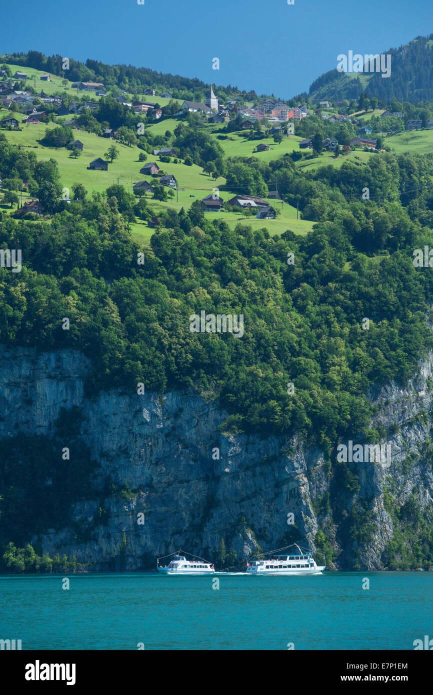 Walensee, Amden, ship, boat, ships, boats, lake, lakes, SG, canton St. Gallen, mountain, mountains, Switzerland, - Stock Image