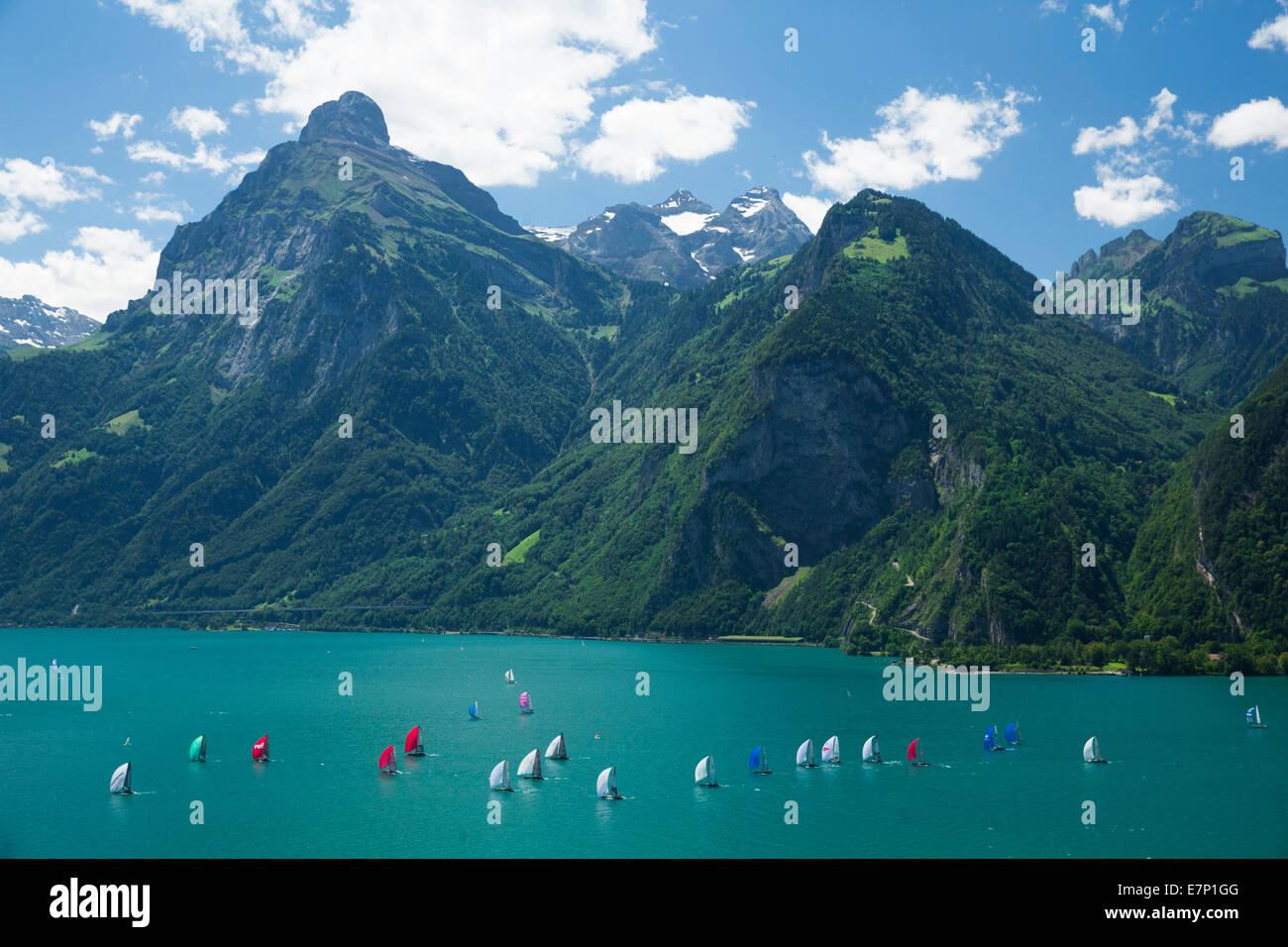 Lake Uri, yachting, regatta, Vierwaldstättersee, Lake Lucerne, sailing, sailboat, Water sport, Switzerland, - Stock Image