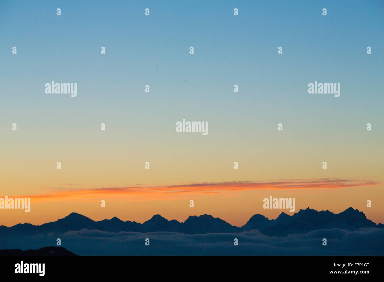 Eggishorn, sunrise, Rhone valley, mountain, mountains, canton, VS, Valais, sunrise, Switzerland, Europe, - Stock Image