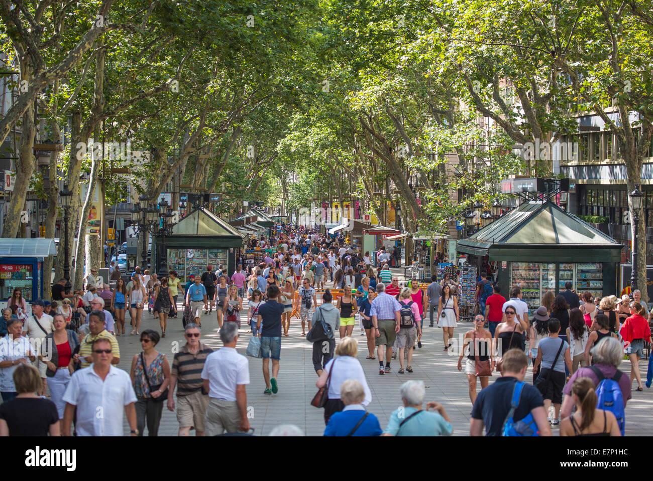 Barcelona, City, Ramblas, avenue, Catalonia, crowded, famous, green, kiosk, people, popular, Spain, Europe, touristic, - Stock Image