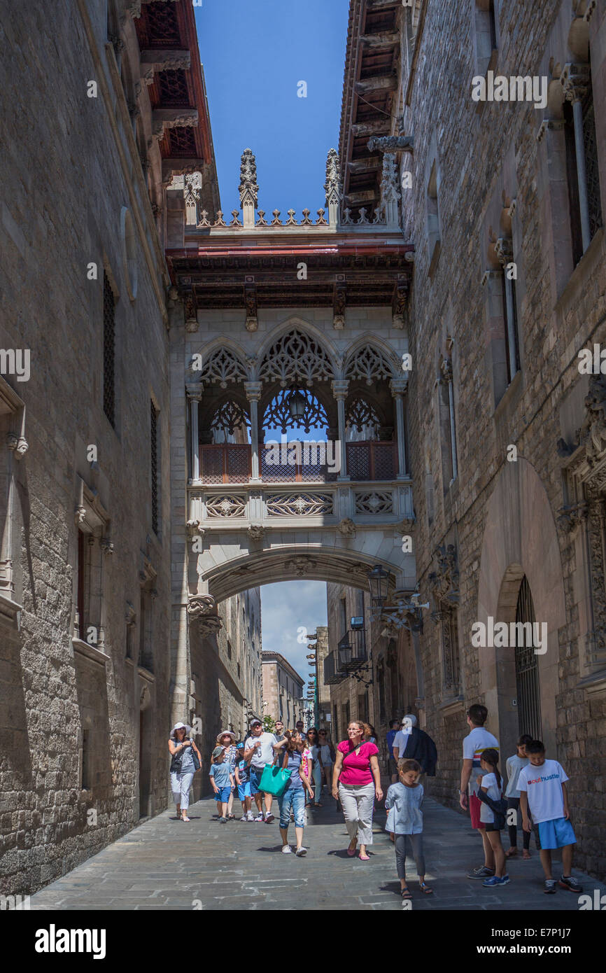Bishop, Bispe, architecture, Barcelona, bridge, Catalonia, famous, gothic, history, Spain, Europe, street, touristic, - Stock Image