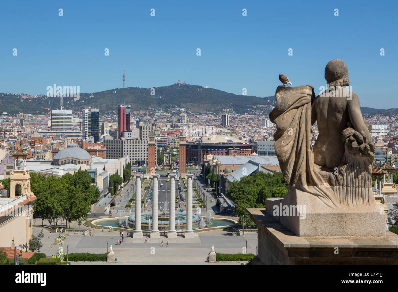 Espana Square, Sans, architecture, Barcelona, Catalonia, city, columns, fountains, hill, mountain, skyline, Spain, - Stock Image