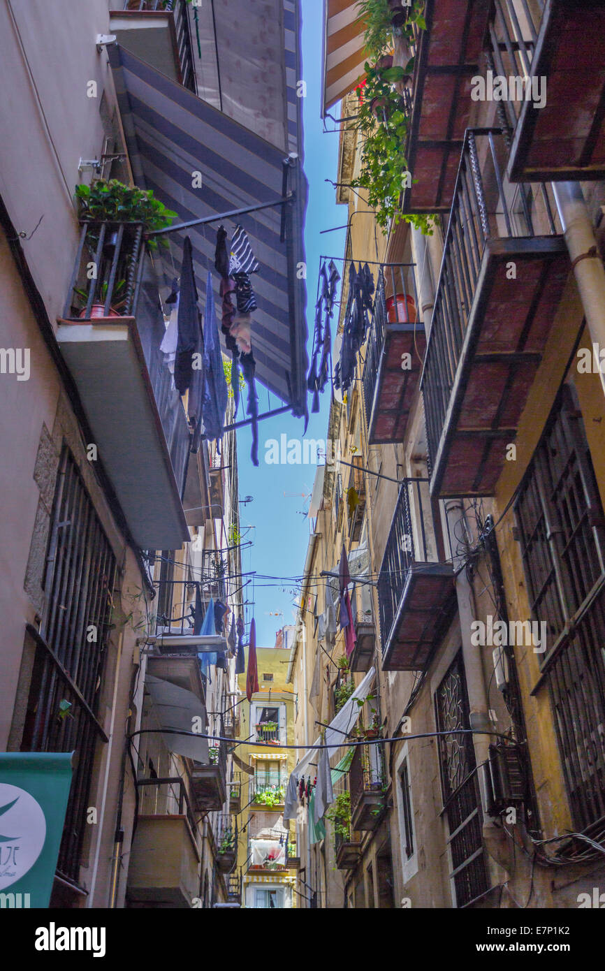 arch, architecture, balconies, Barcelona, canvas, Catalonia, city, history, house, medieval, old, Spain, Europe, - Stock Image