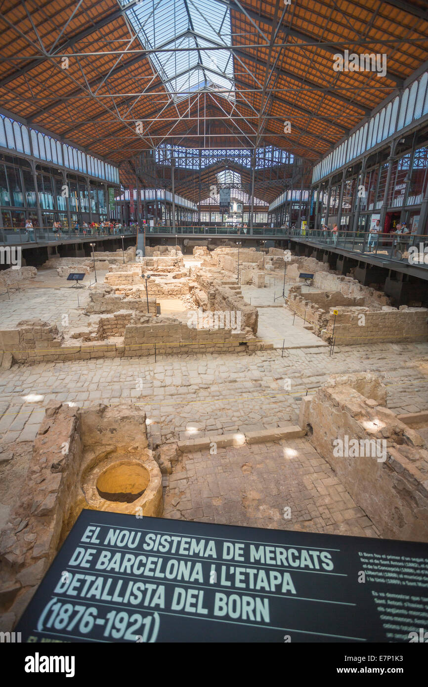 1714, Barcelona, City, building, Born Market, architecture, born, Catalonia, downtown, history, old, ruins, siege, - Stock Image