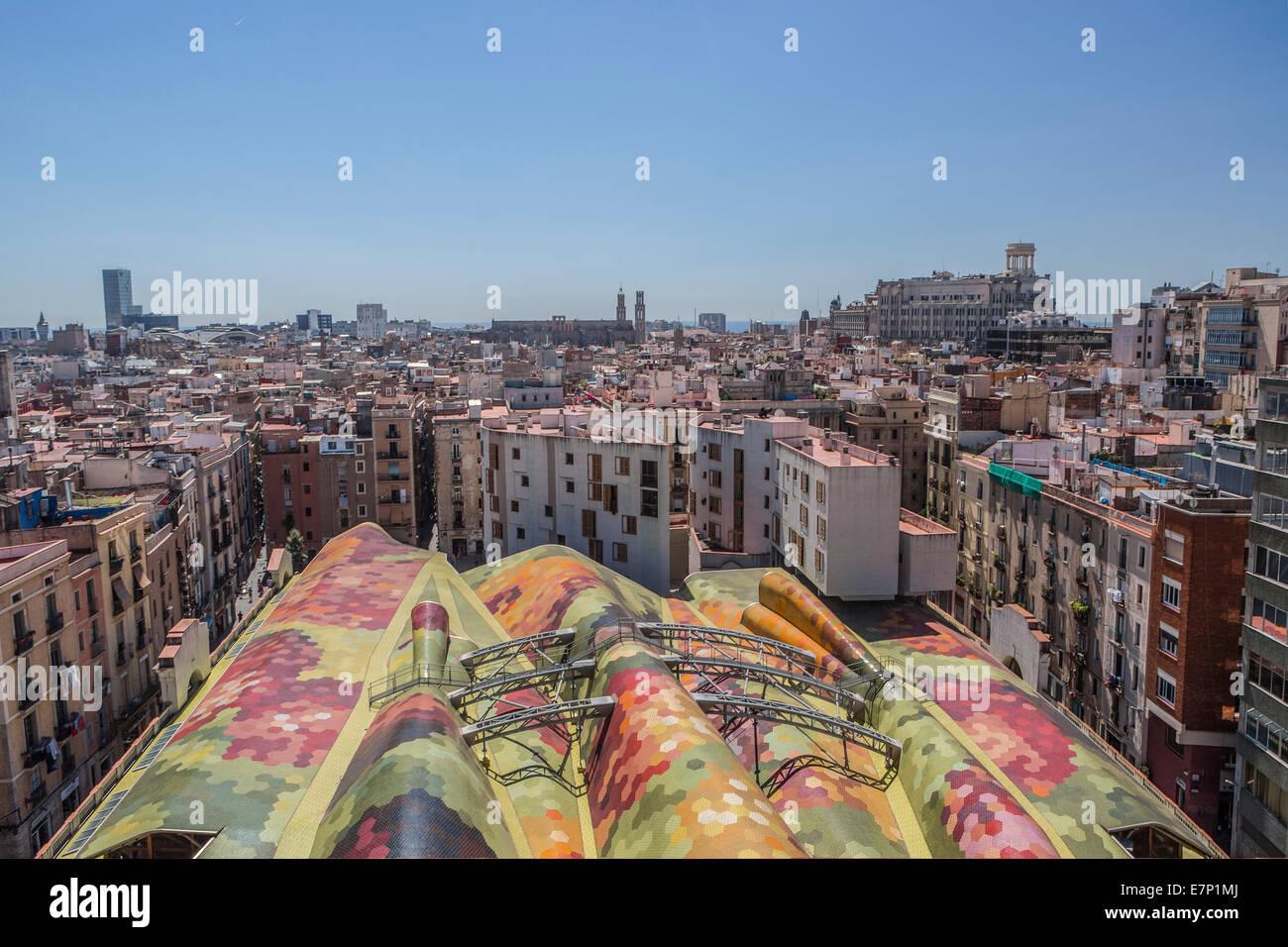Barcelona, City, Ciutat Vella, architecture, Catalonia, colourful, colours, downtown, landscape, mural, old town, - Stock Image