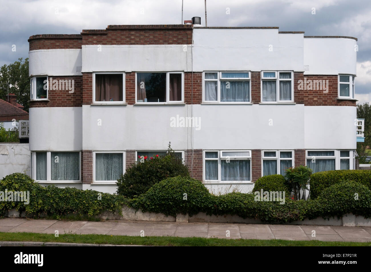 art deco style semi detached houses in bromley south london stock