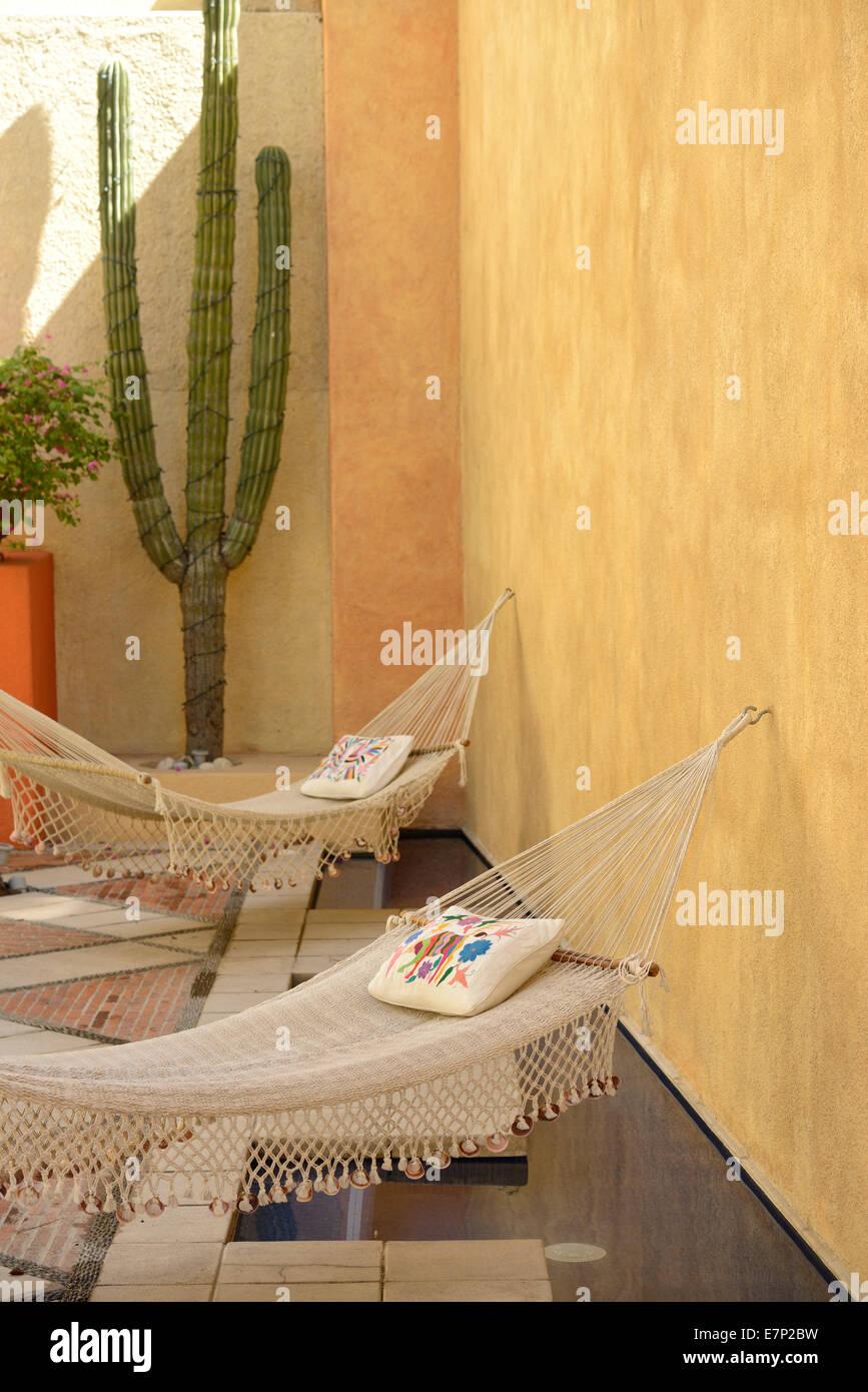 Mexico, North America, Baja, Baja California, San Jose del Cabo, los cabos, tourism, Casa Natalia, hotel, hammock, - Stock Image