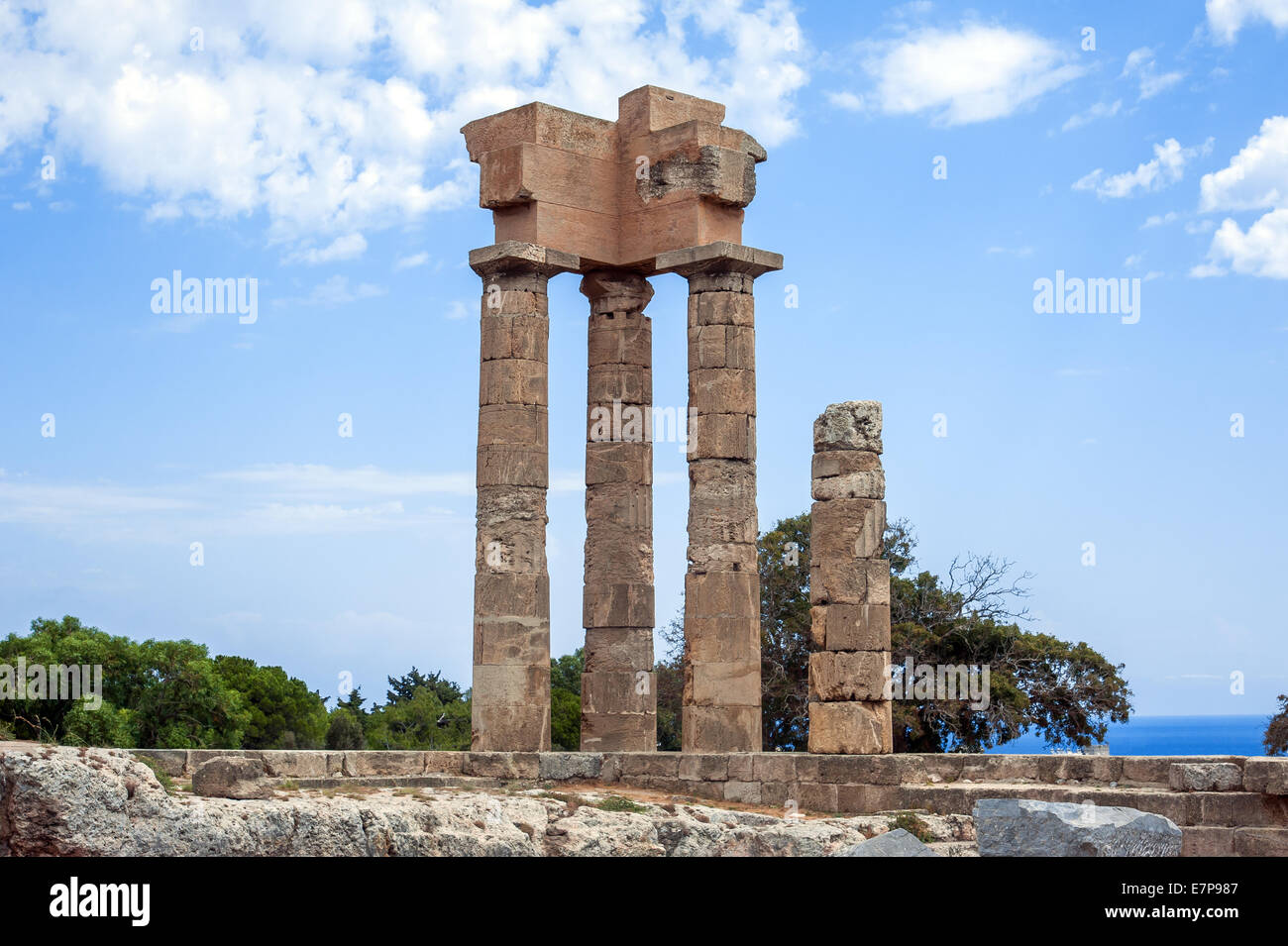 acropolis rhodes, Ruins of ancient temple - Stock Image