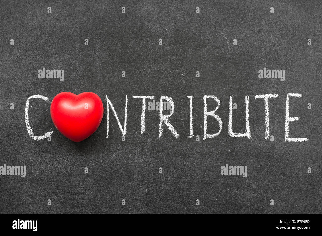 contribute word handwritten on chalkboard with heart symbol instead of O - Stock Image