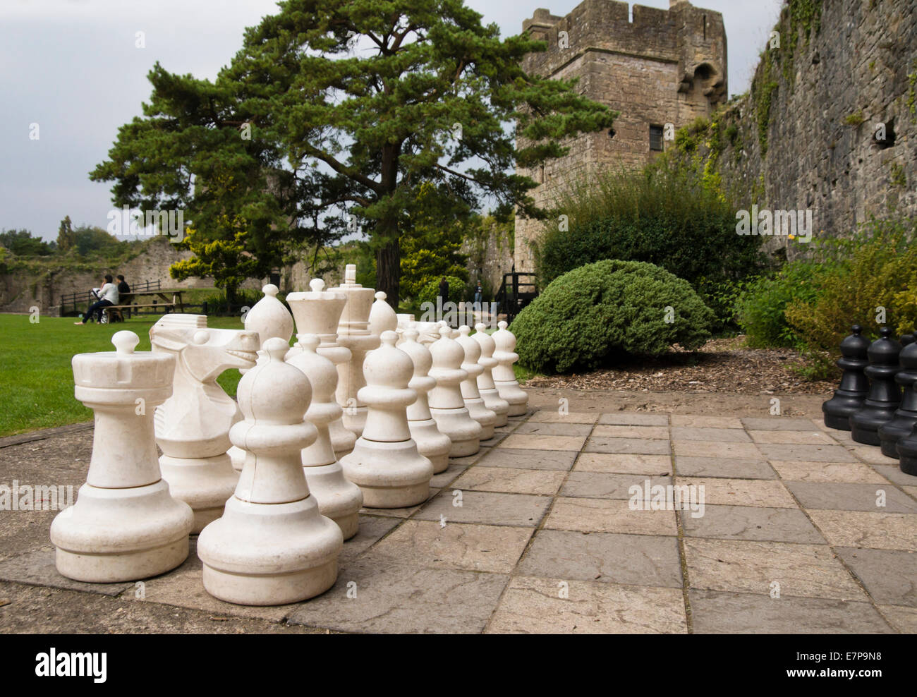 Caldicot Castle Monmouthshire Wales Oversize chess set - Stock Image