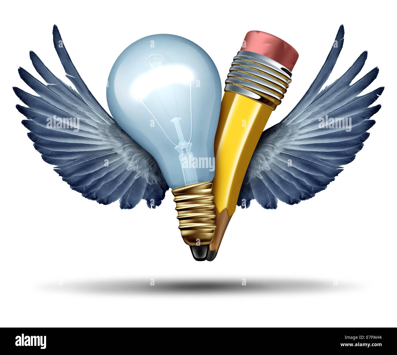 Creativity freedom concept as a lightbulb and pencil in a joint effort flying up with bird wings as a metaphor and - Stock Image