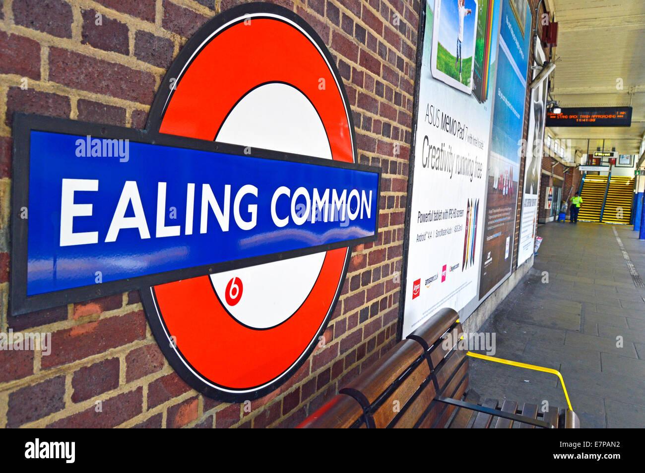 Ealing Common Tube Station roundel, London Borough of Ealing, London, England, United Kingdom Stock Photo