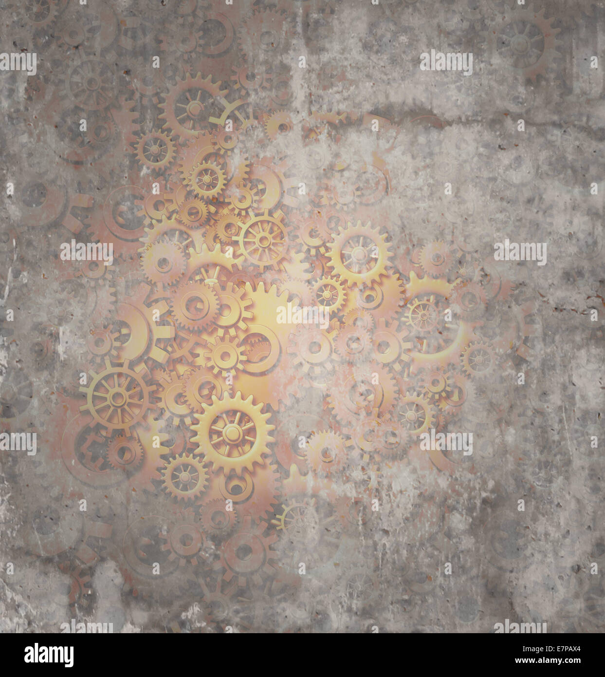 Steampunk grunge background as a rustic texture science fiction concept made of dirty metal copper gears and cogs - Stock Image