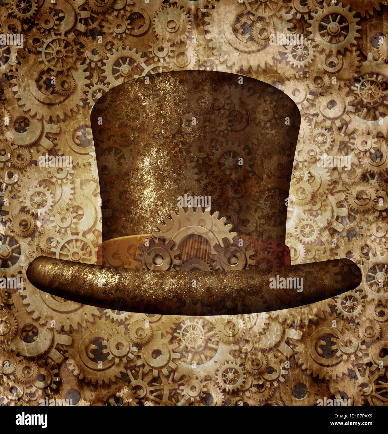 Steampunk top hat as a science fiction concept made of metal copper gears and cogs wearing a historical victorian - Stock Image