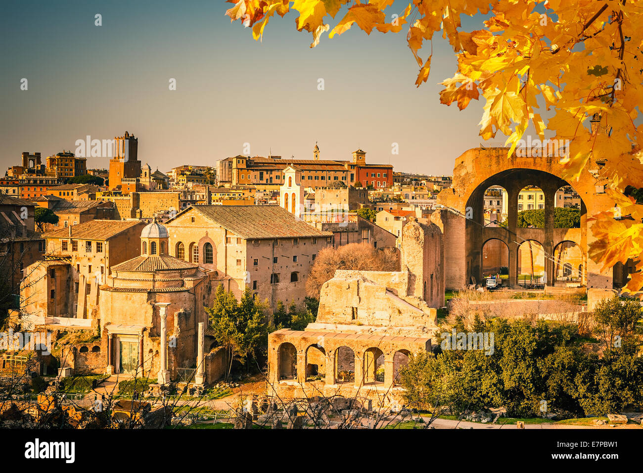 Ruins of Forum in Rome - Stock Image