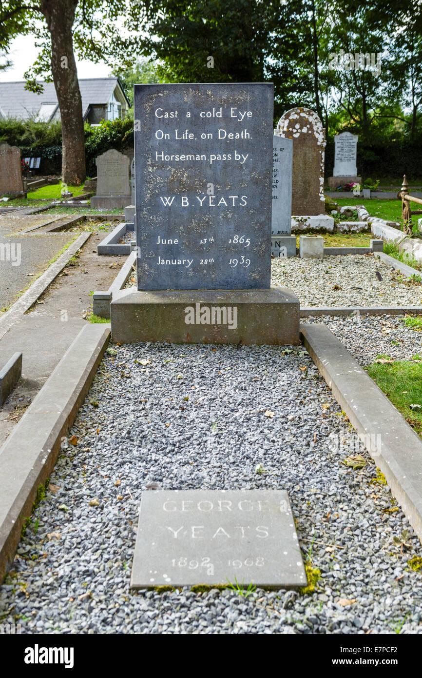 The grave of the poet W B Yeats, St Columba's Church, Drumcliff, County Sligo, Republic of Ireland - Stock Image