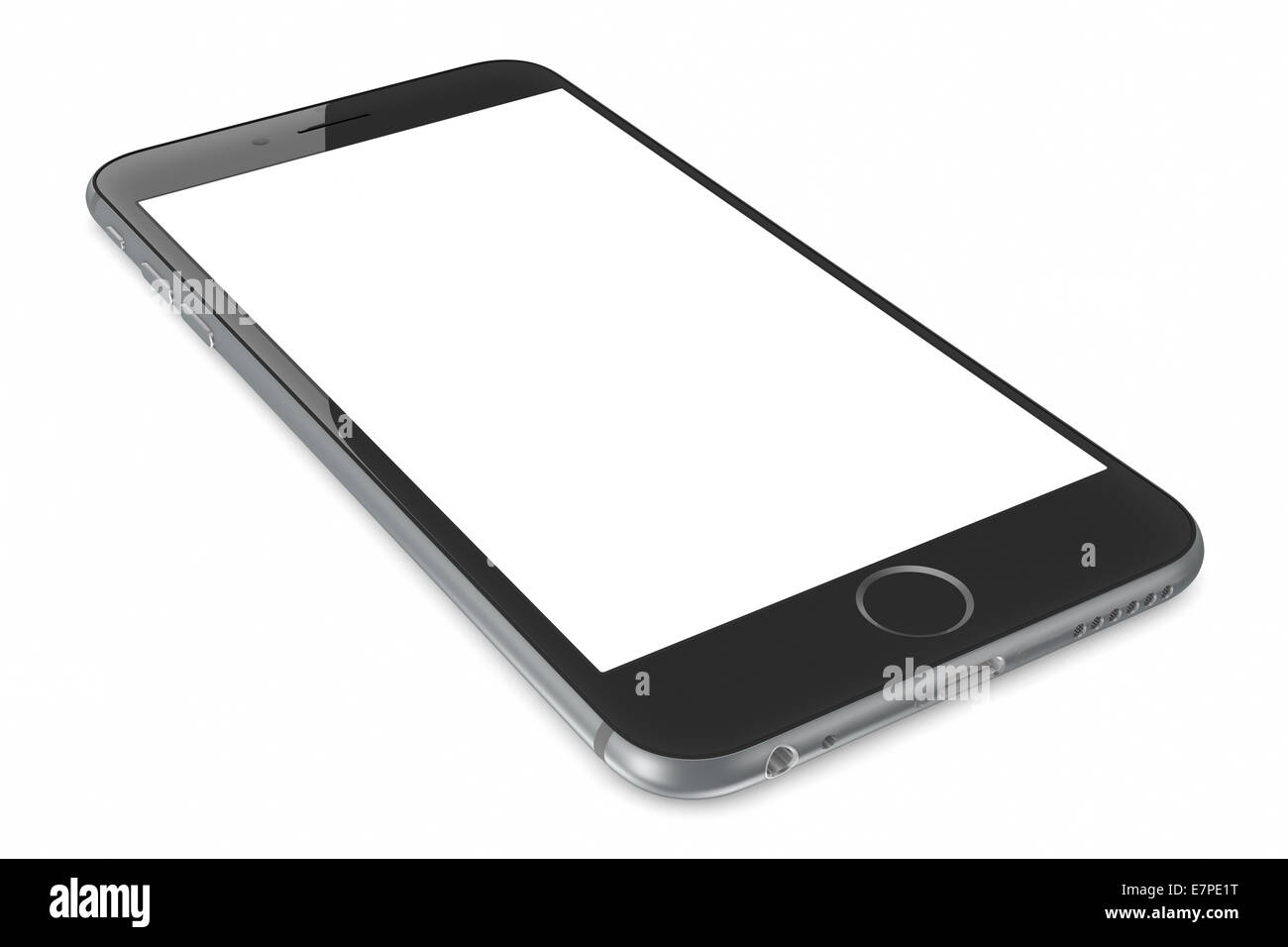 Apple Space Gray iPhone 6 Plus with white blank screen. - Stock Image