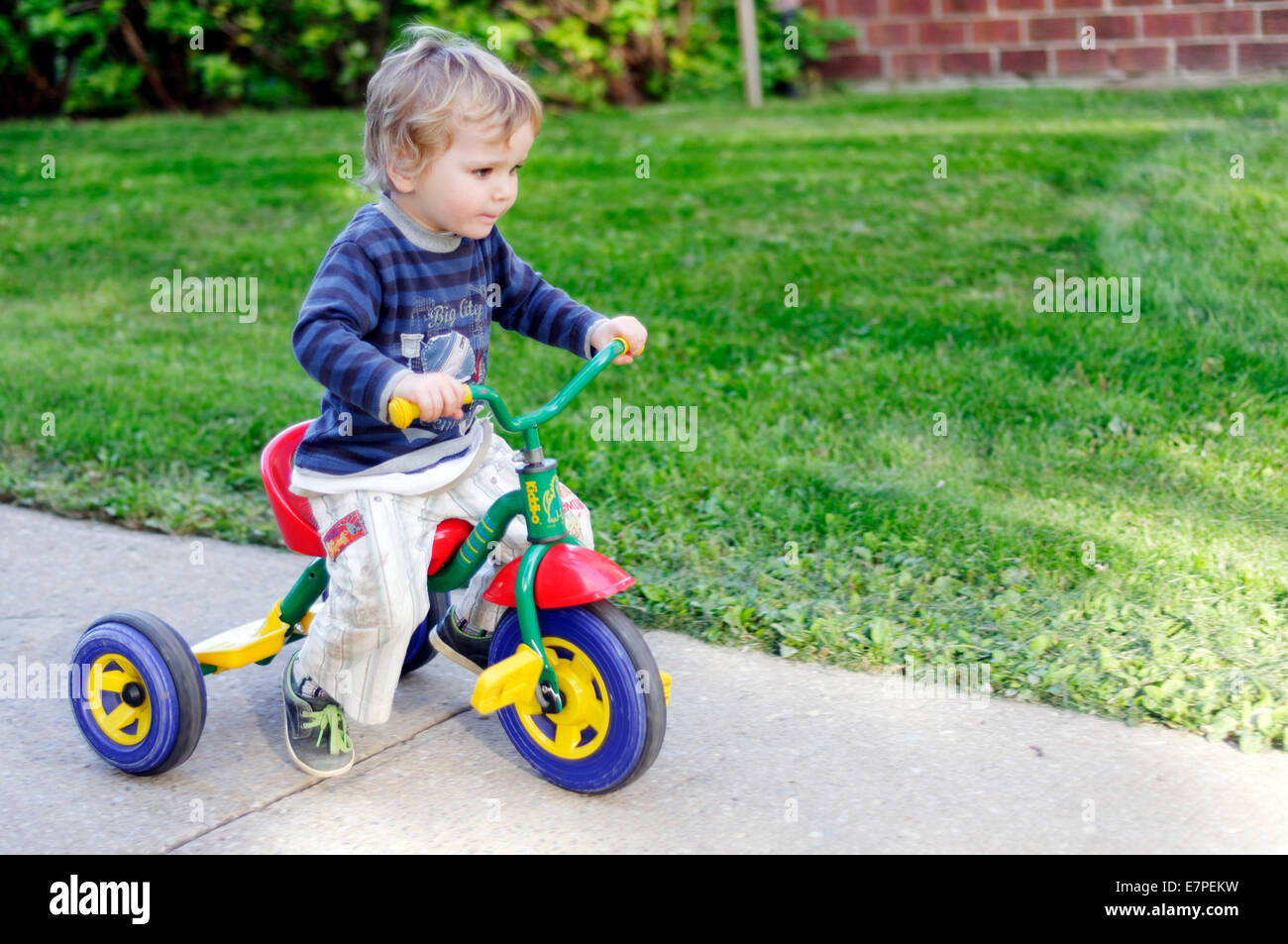 A young boy  (2 1/2 yrs) riding a tricycle outside - Stock Image