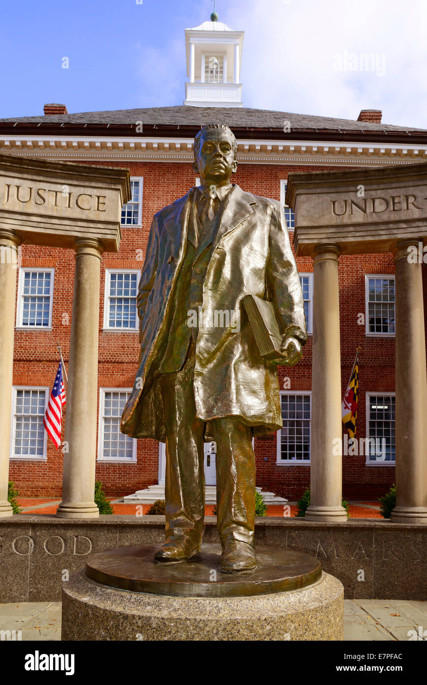 A statue of former US Supreme Court Justice Thurgood Marshall in front The James Senate Office Building the Maryland - Stock Image
