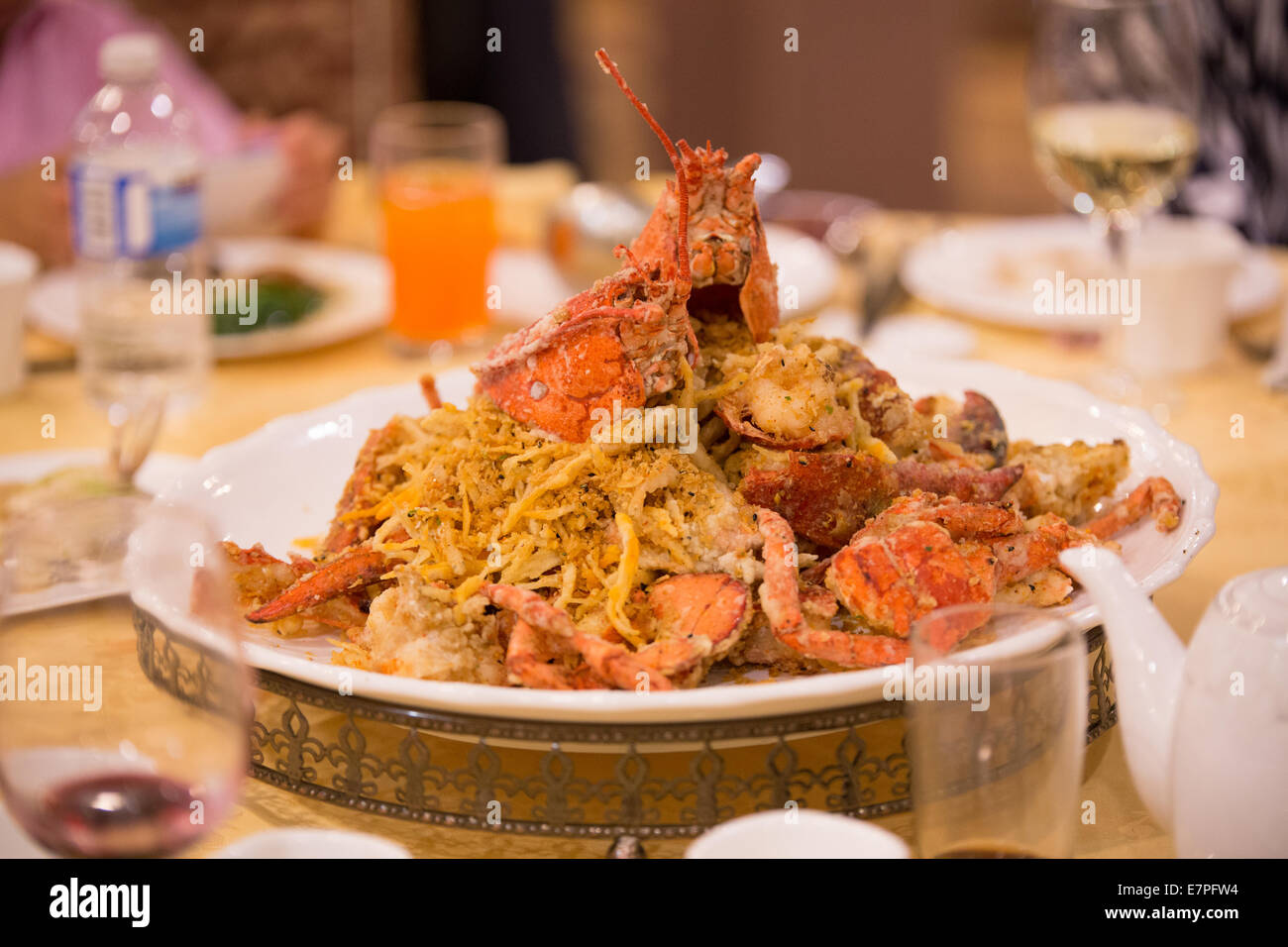 deep fired lobsters dish - Stock Image