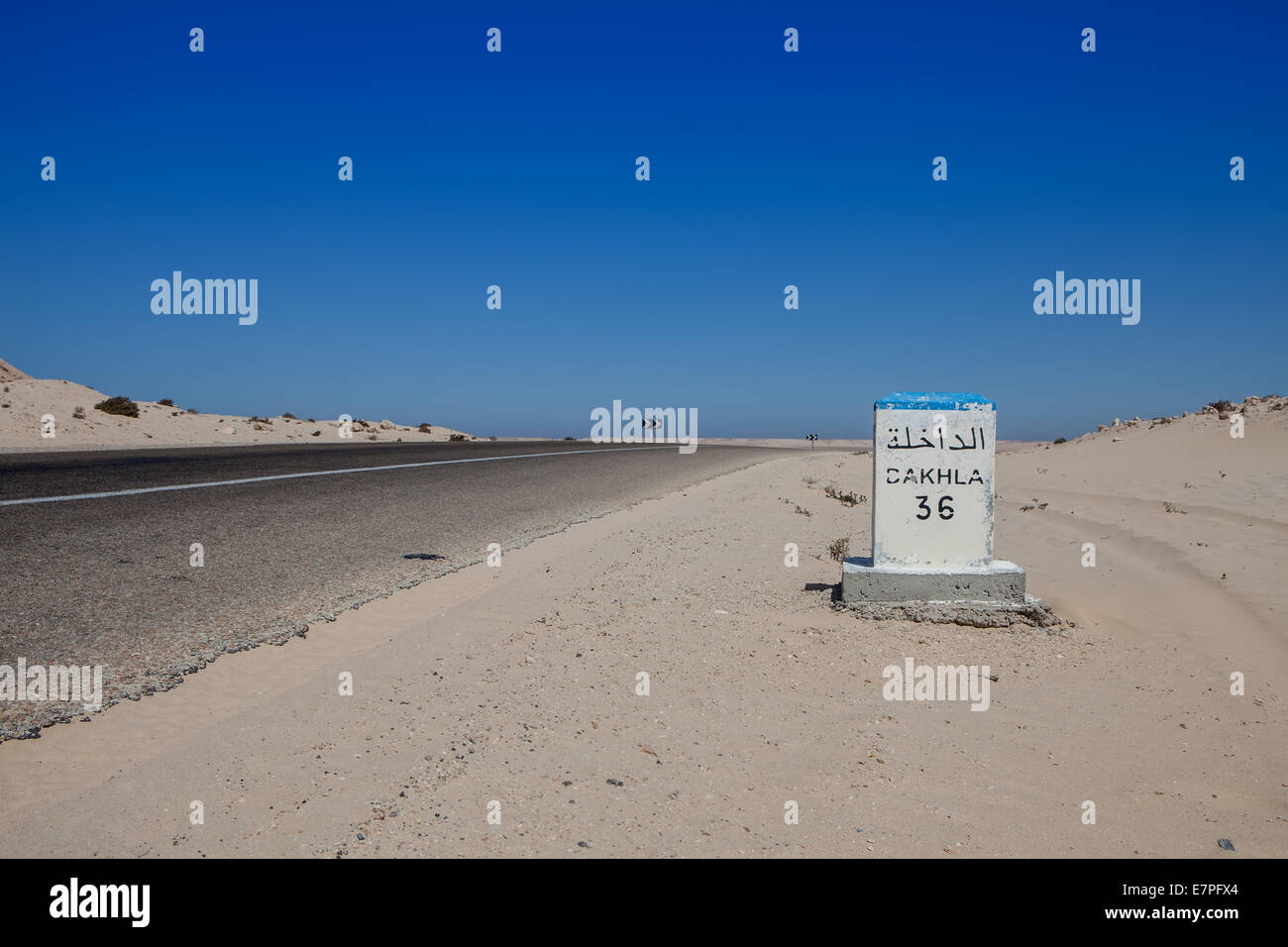 distance signal in a desert road in western sahara morocco - Stock Image
