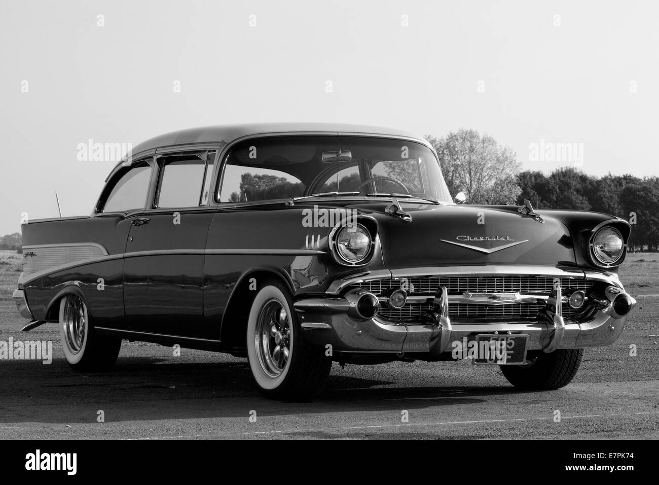 1950s Chevrolet. Chevy. Classic American car Black And white Stock ...